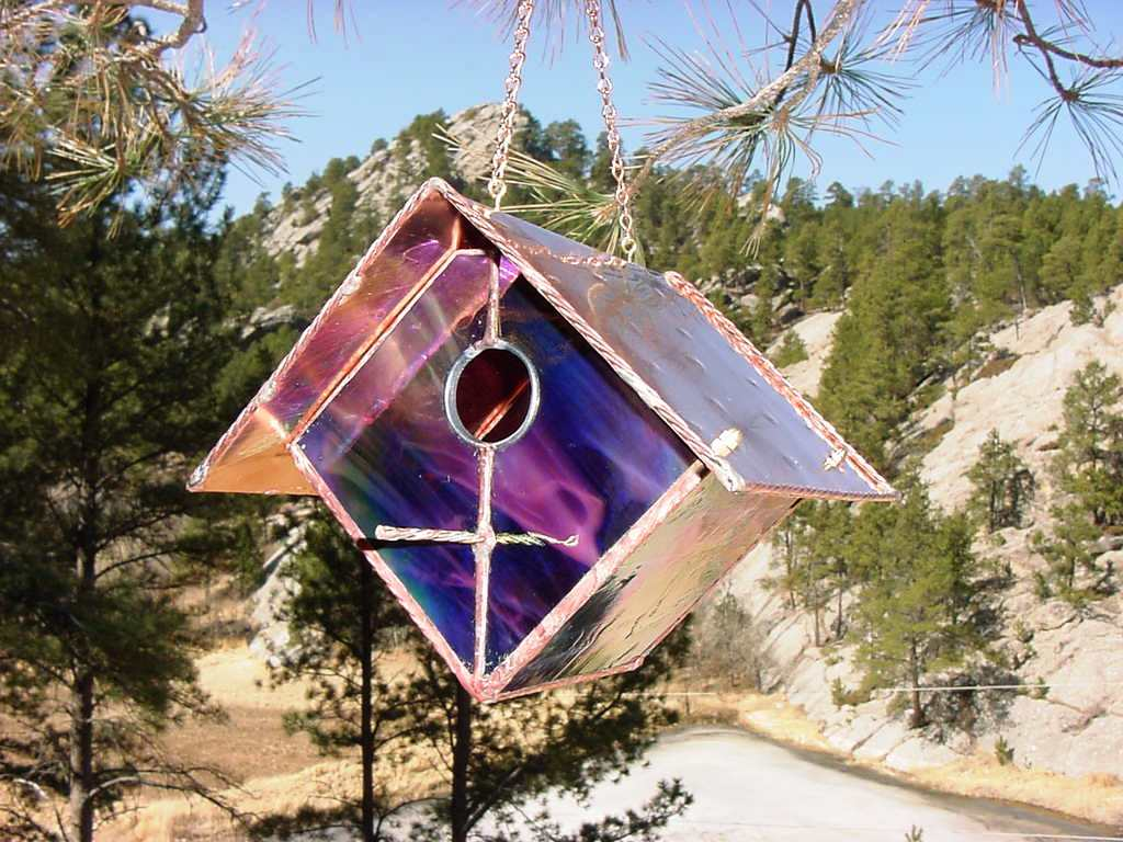 Black Cherry Stained Glass Bird House