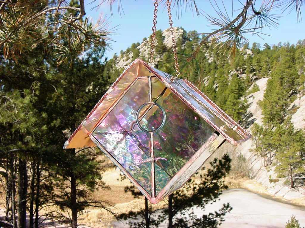 Clear Stained Glass Bird House