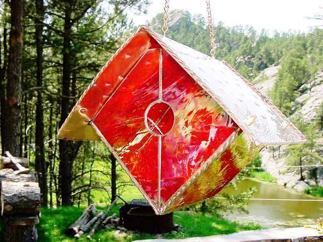 Iridescent Red Wren Stained Glass Bird House